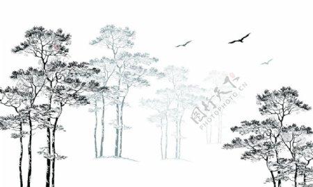 勾勒树木线条简图水墨画装饰图图片