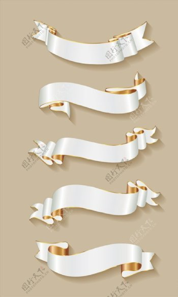 白色金边丝带条幅图片