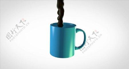 C4D模型动画倒咖啡在杯子图片