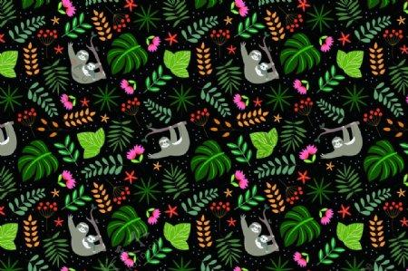 树叶花草小猴背景墙纸装饰图图片