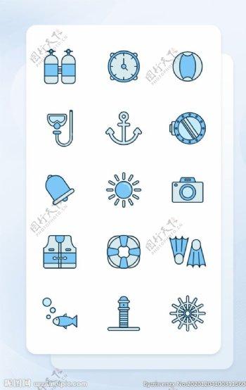 蓝色线性填充海洋潜水图标集图片