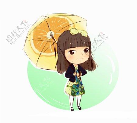 撑伞的女生卡通图片