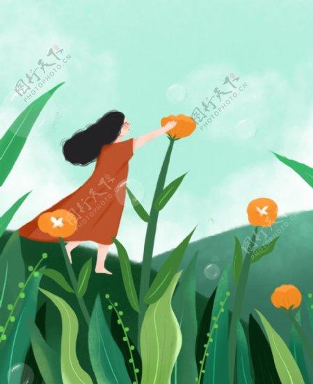 摘花的女孩插画图片