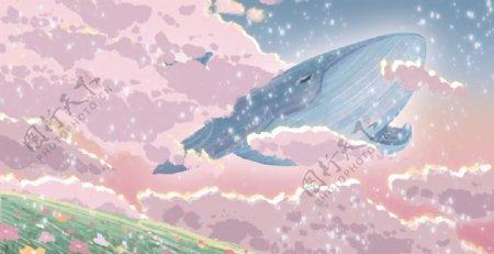 梦幻鲸鱼插画图片