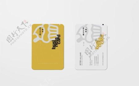 黄色名片卡片工牌高档样机图片