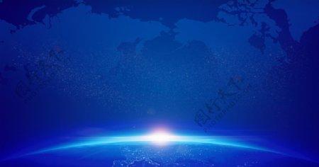 蓝色科技背景蓝色地球背景签到图片