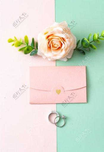 玫瑰花信封戒指图片
