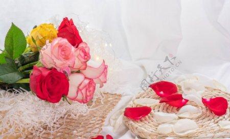 玫瑰花素高清拍摄素材图片