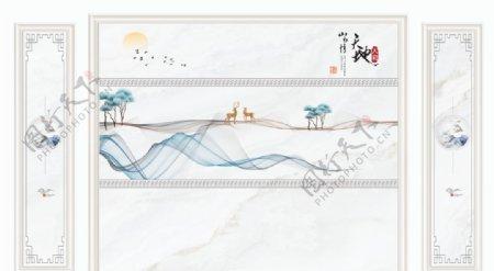 新中式抽象山水装饰画图片
