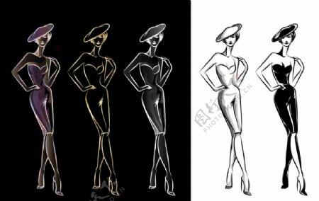 女性服装设计手稿图片