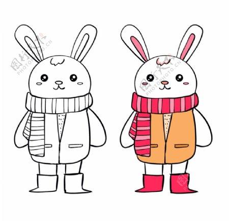 手绘简笔画兔子图片