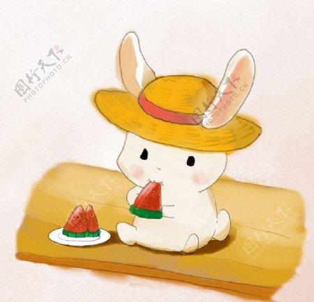 可爱小兔子插画图片
