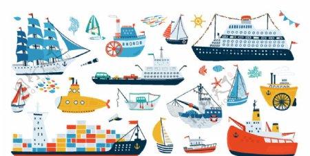 卡通绘画船图片