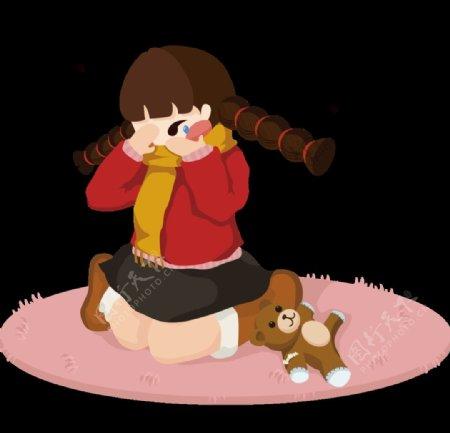 年画娃娃女孩伤心难过哭泣抹眼泪图片