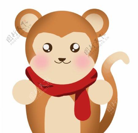 可爱带围巾的猴子图片