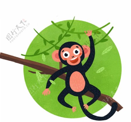可爱猴子爬树插画图片