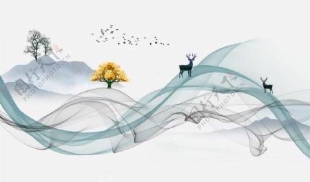 中式山水麋鹿背景图片