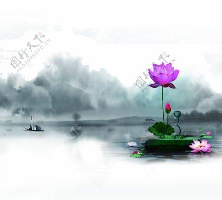 中式荷花水墨玄关屏风装饰画背景图片