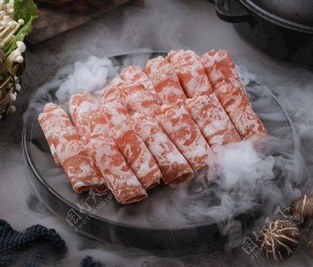 美食火锅鱼片食物肉卷食材图片