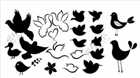 卡通小鸟矢量剪影图片