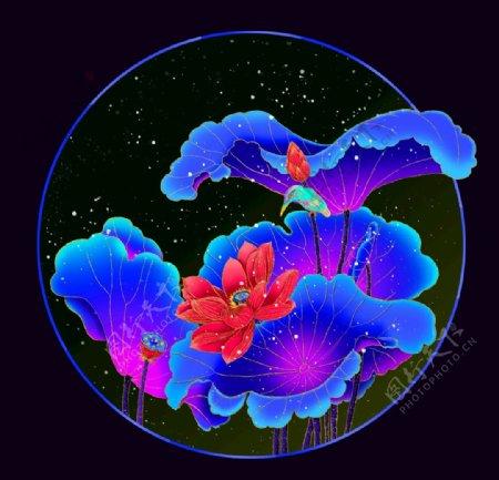 插画绘画炫彩渐变荷花花卉图片