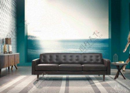 大海背景客厅图片