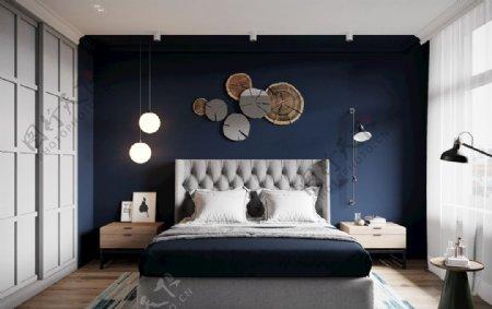 深蓝色背景卧室图片