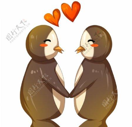情侣企鹅插画图片