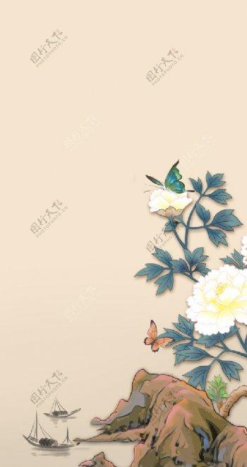牡丹国画背景图片