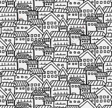 卡通线稿素描手绘城市矢量图片