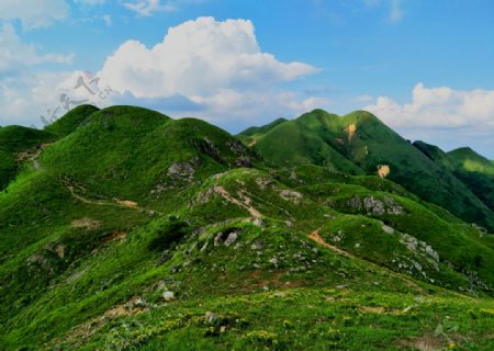高山草原白云蓝天绿野空旷图片