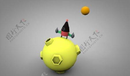 C4D模型低面体火箭星球图片
