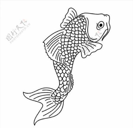 线描鲤鱼矢量图雕刻图图片