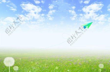 环保蓝天白云纸飞机图片
