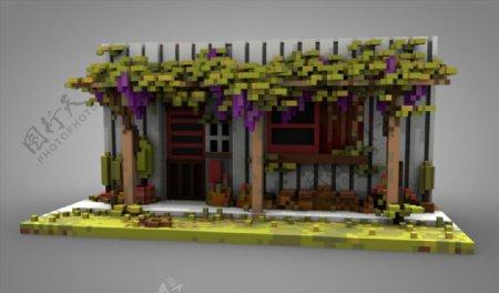 C4D模型长满植物的老房子图片