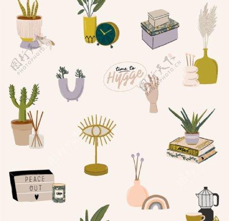 居家植物生活图标图片