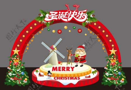 圣诞美陈门头图片