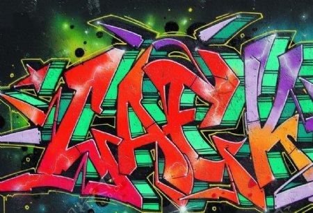 喷漆涂鸦彩色绘画装饰墙纸背景图图片