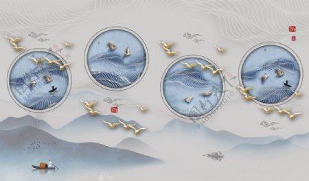 新中式山水装饰画图片