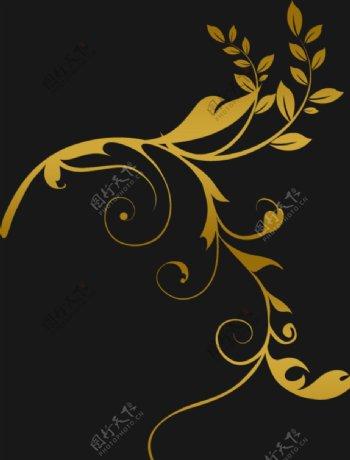 金色花纹边框ω 图片