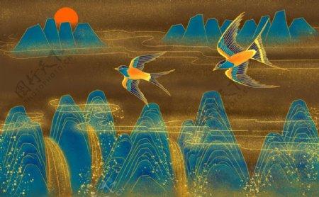 中国风祥云山水燕子图片