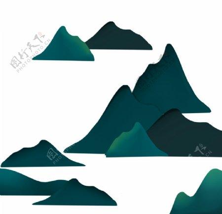 卡通山川山脉元素图片