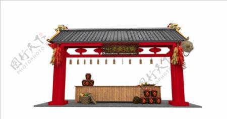中式门头堆景美陈图片