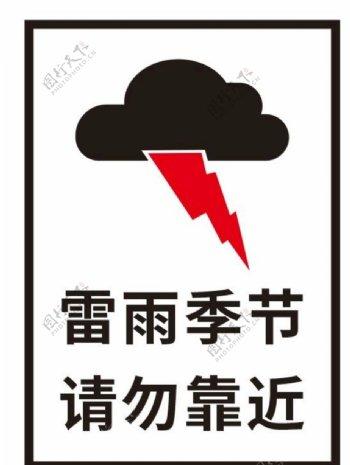 雷雨季节请勿靠近图片