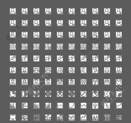 100个黑白用户图表UI图标图片