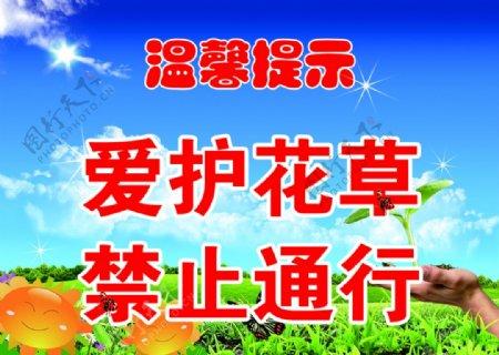 爱护花草温馨提示图片