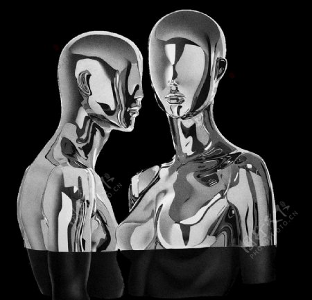 3D质感金属高端人体元素png图片