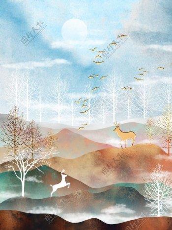 北欧抽象山水画金箔画图片
