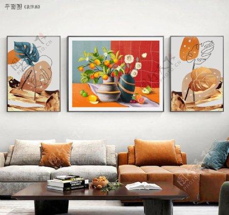北欧重彩手绘花卉客厅装饰画图片