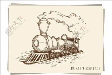 行驶的火车素描画图片